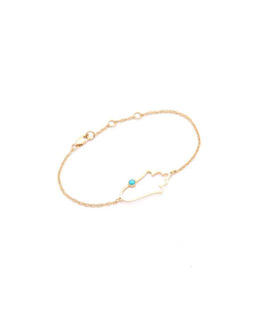 Jennifer Zeuner | Metallic Open Hamsa Bracelet With Turquoise | Lyst