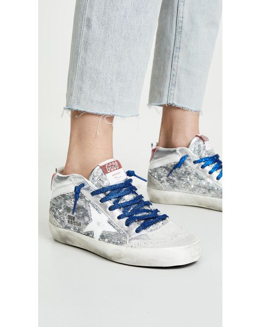 16e862de0244 ... Golden Goose Deluxe Brand - Blue Mid Star Sneakers - Lyst ...