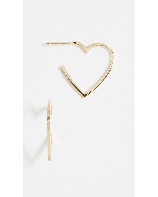 Jennifer Zeuner - Metallic Larissa Mini Heart Hoop Earrings - Lyst