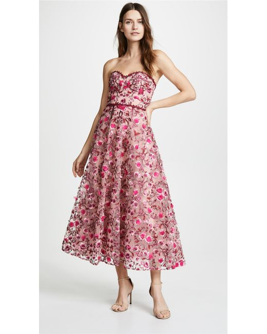 bb181800ca6 Marchesa notte - Pink Floral Embroidered Tea Length Gown - Lyst ...