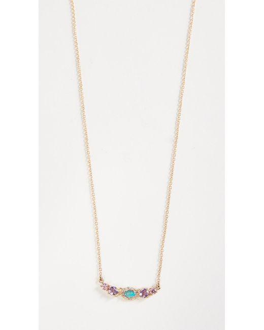 Eden Presley - Metallic 14k Gold Mini Oval Stoned Bar Necklace - Lyst