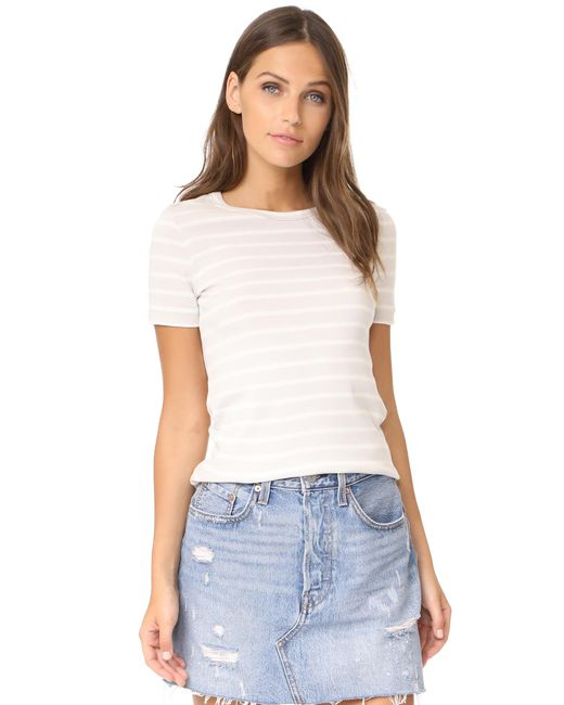 Petit bateau 1x1 iconic striped tee in white save 4 lyst for Petit bateau striped shirt