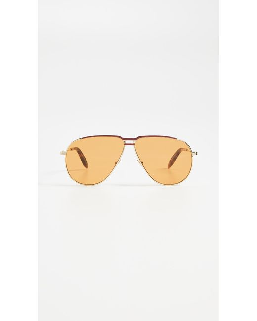 Victoria Beckham - Metallic Jet Set Aviator Sunglasses - Lyst