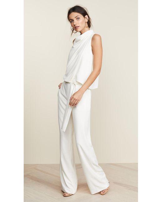 Halston Heritage - White Sleeveless Drape Jumpsuit - Lyst