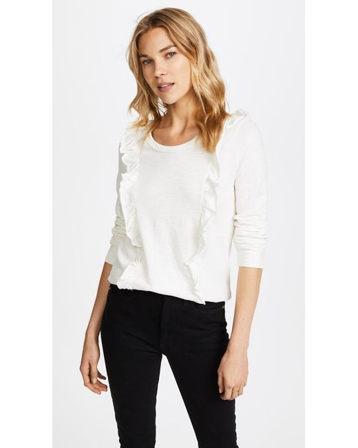 Splendid | White Ruffle Long Sleeve Tee | Lyst