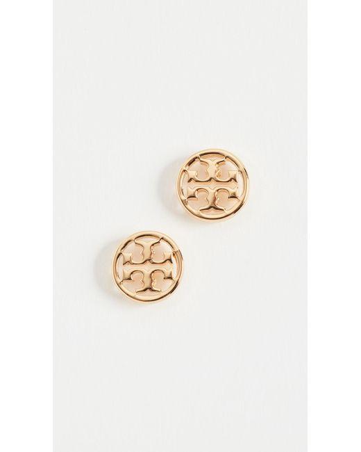 Tory Burch - Metallic Logo Circle Stud Earrings - Lyst