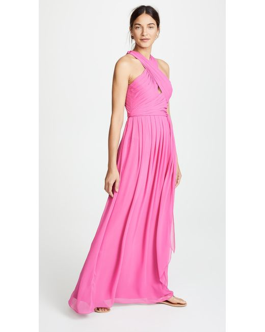 Monique Lhuillier Bridesmaids - Pink Halter Gown With Cutout - Lyst