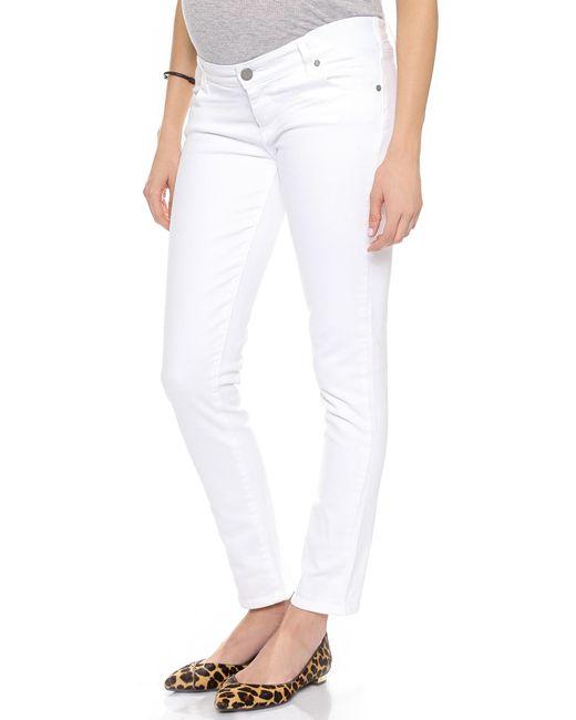 PAIGE | White Skyline Ankle Peg Maternity Jeans | Lyst
