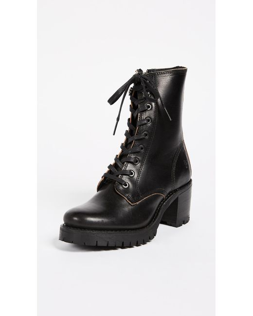 Frye - Black Sabrina Moto Lace Up Combat Boot - Lyst