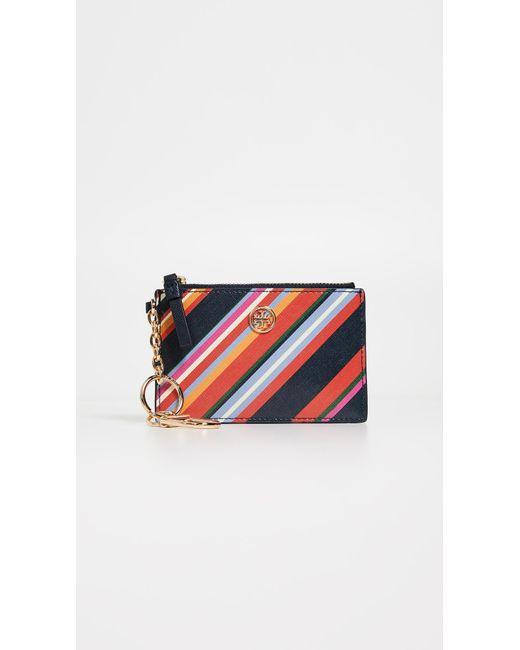 Tory Burch - Blue Robinson Stripe Card Case Key Fob - Lyst