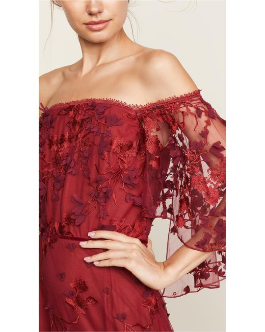 4b2f9a1151 ... Marchesa notte - Off-the-shoulder Embroidered Appliquéd Tulle Gown -  Lyst ...
