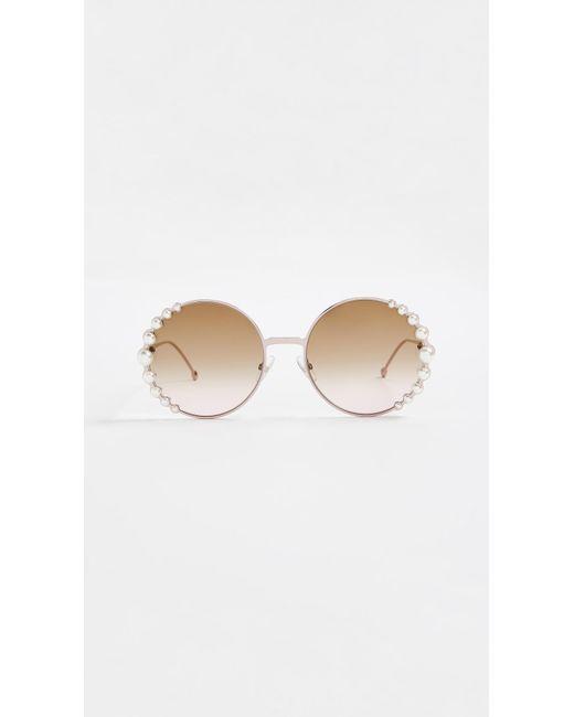 Fendi - Brown Round Pearl Frame Sunglasses - Lyst