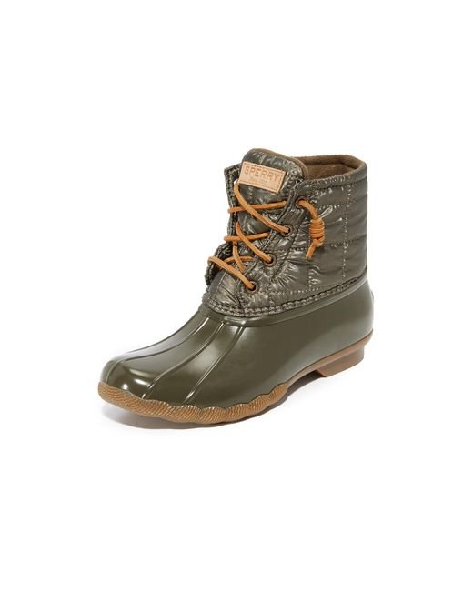 Sperry Top-Sider | Green Saltwater Shiny Quilted Booties | Lyst