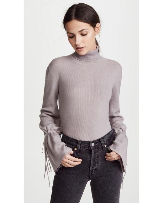 Ryan Roche - Gray Cuff String Cashmere Sweater - Lyst
