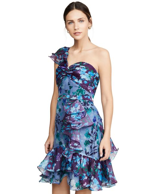 a83db94602b ... Marchesa notte - Blue One Shoulder Colorblock Cocktail - Lyst