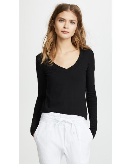 James Perse - Black Long Sleeve V Neck Tee - Lyst
