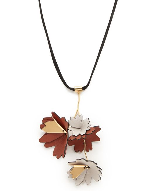 Marni - Multicolor Leather And Brass Necklace - Lyst