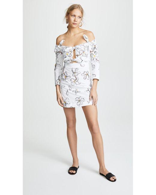 Magnolia-print knot-detailed cotton dress Isa Arfen Finishline Cheap Online Y8OBB8