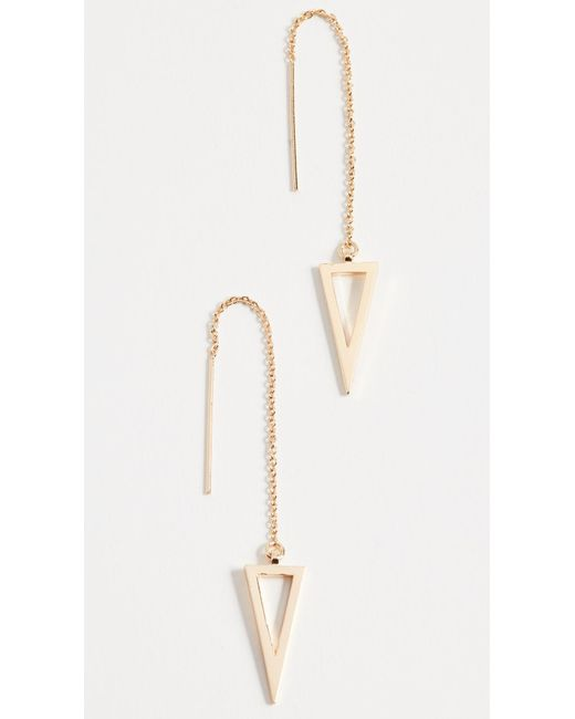 Rebecca Minkoff - Metallic Long Triangle Frame Threader Earrings - Lyst