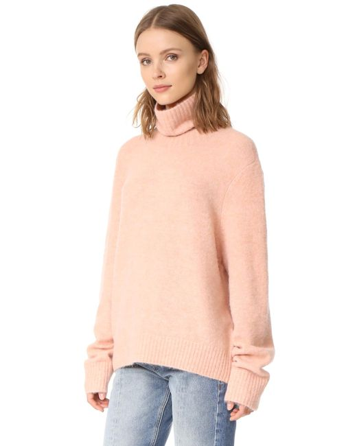 Frame Slouchy Turtleneck Sweater in Pink | Lyst
