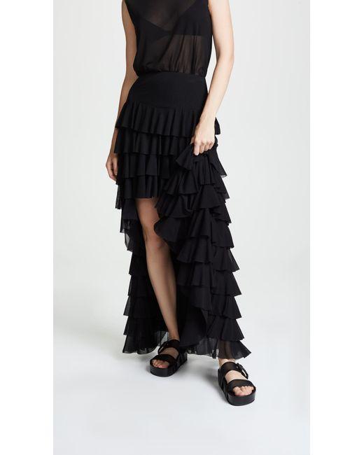 Norma Kamali - Black Ruffle Hi Low Skirt - Lyst