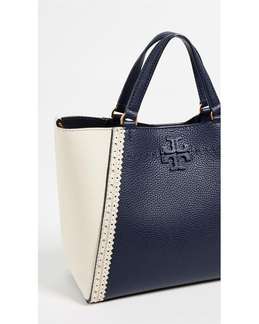 d4c968d3ed4c ... Tory Burch - Blue Mcgraw Brogue Small Caryall Tote - Lyst ...