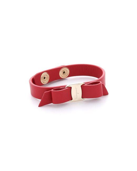 Ferragamo - Red Vara Bow Single Wrap Bracelet - Lyst