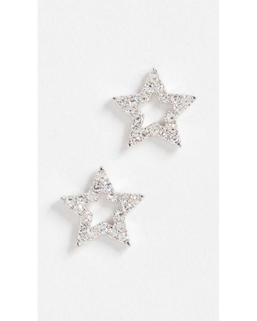 EF Collection - Metallic 14k Gold Diamond Open Star Stud Earrings - Lyst