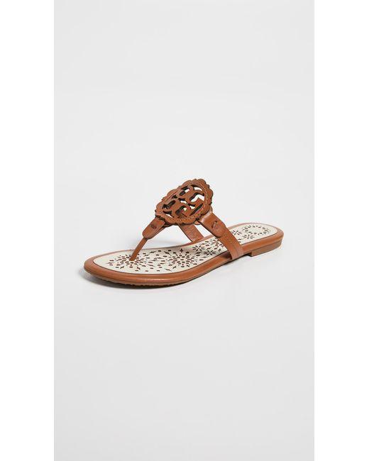 ff93fb975036c Tory Burch - Brown Miller Scallop Sandals - Lyst ...