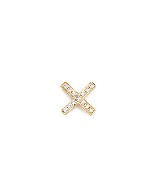 EF Collection | Metallic Diamond X Single Stud Earring | Lyst