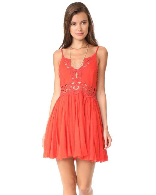 Free People | Red Ilektra Mini Dress | Lyst