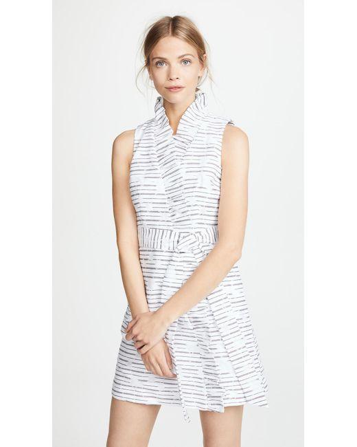 MILLY - White Ruffle Wrap Dress - Lyst