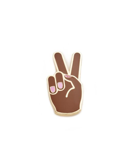 Georgia Perry   Brown Peace Hand Lapel Pin   Lyst