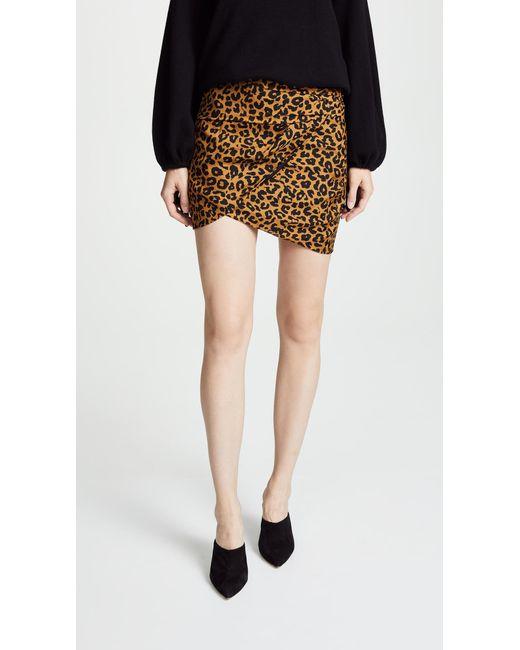 Michelle Mason - Brown Gathered Mini Skirt - Lyst