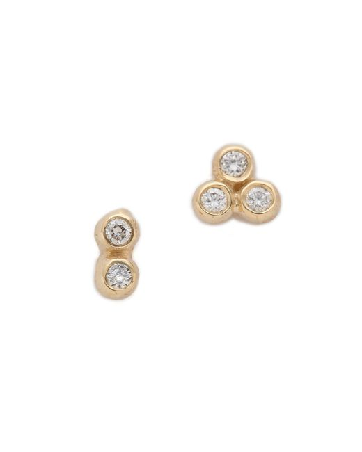 Blanca Monros Gomez - Metallic Asymmetrical Seed Stud Earrings - Lyst