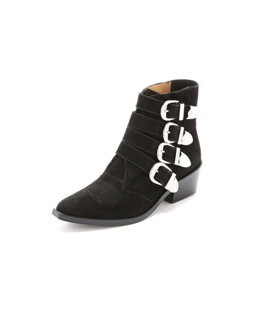 Toga Pulla - Black Women's Buckle Side Suede Heeled Ankle Boots - Lyst