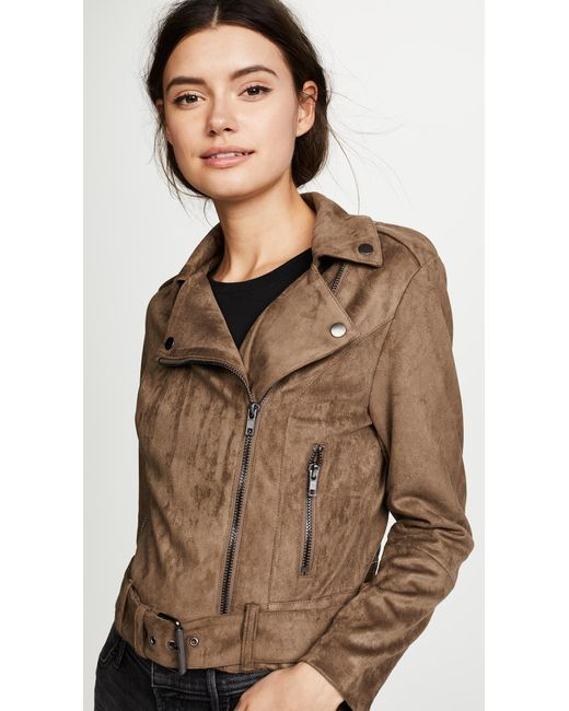 Bb Dakota Waller Faux Suede Moto Jacket In Brown Lyst