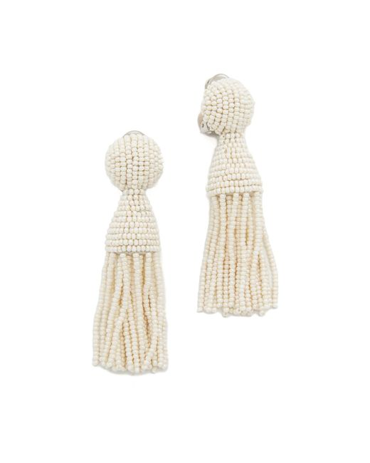 Oscar de la Renta | White Short Tassel Earrings | Lyst