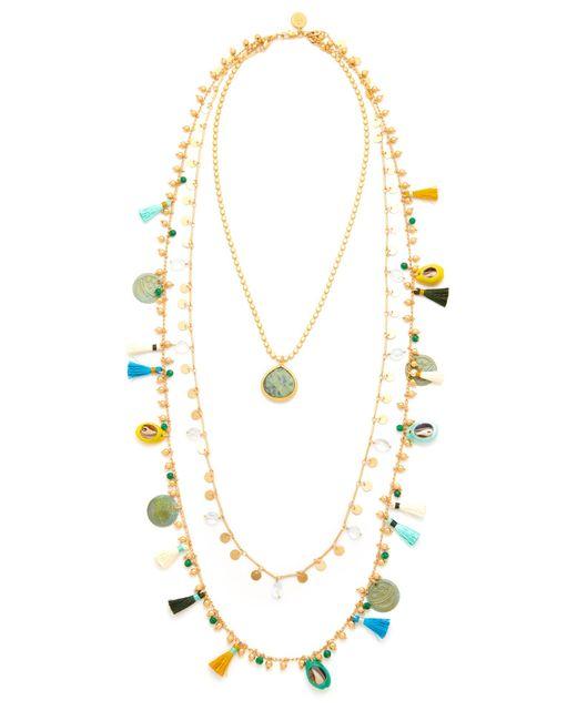 Tory Burch | Metallic Tassel Layering Necklace | Lyst