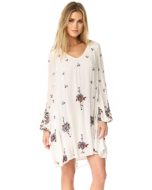 Free People | Natural Oxford Embroidered Mini Dress | Lyst