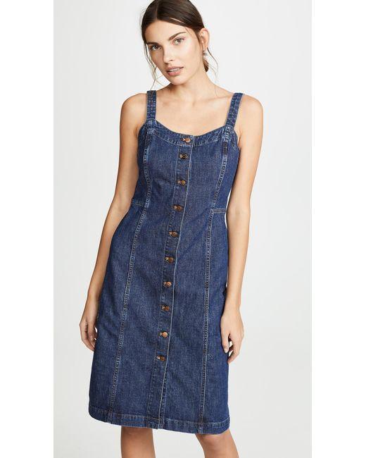 0419aa2c3d Madewell - Blue Denim Button Front Tank Dress - Lyst ...
