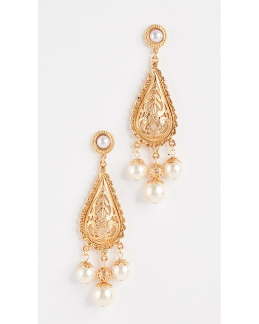 Ben-Amun | Metallic Imitation Pearl Drop Earrings | Lyst