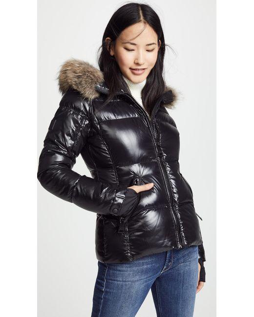 Sam. - Black Blake Short Down Jacket With Fur - Lyst