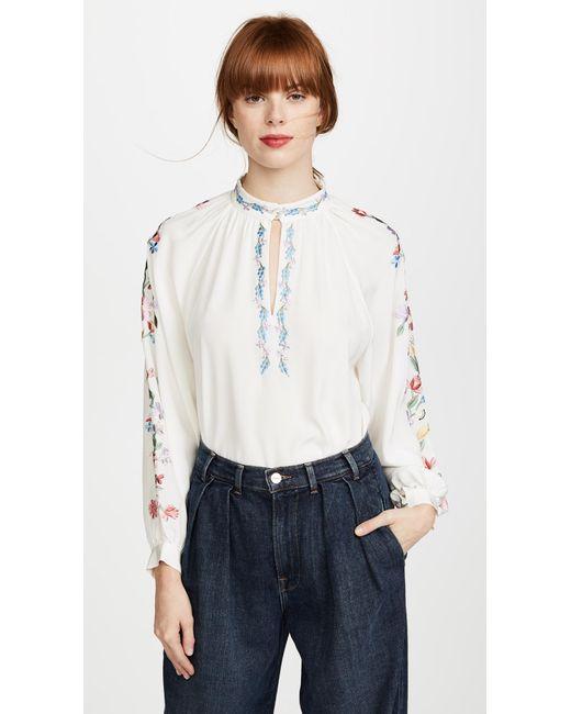 Vilshenko | White Faye Embroidered Silk Blouse | Lyst