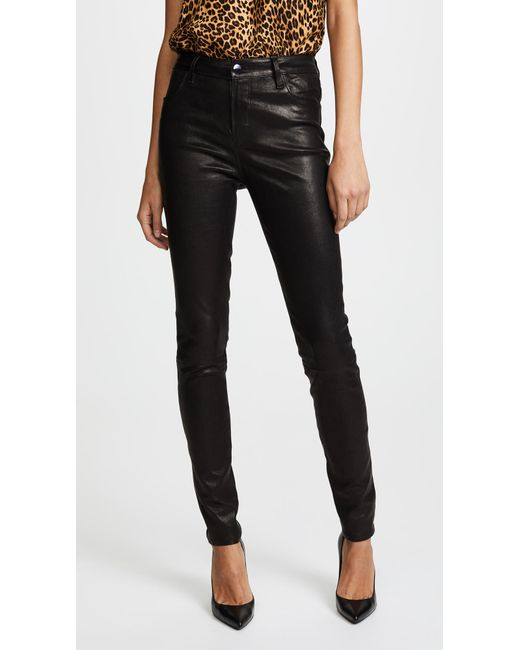 J Brand | Black Maria High Rise Leather Pants | Lyst