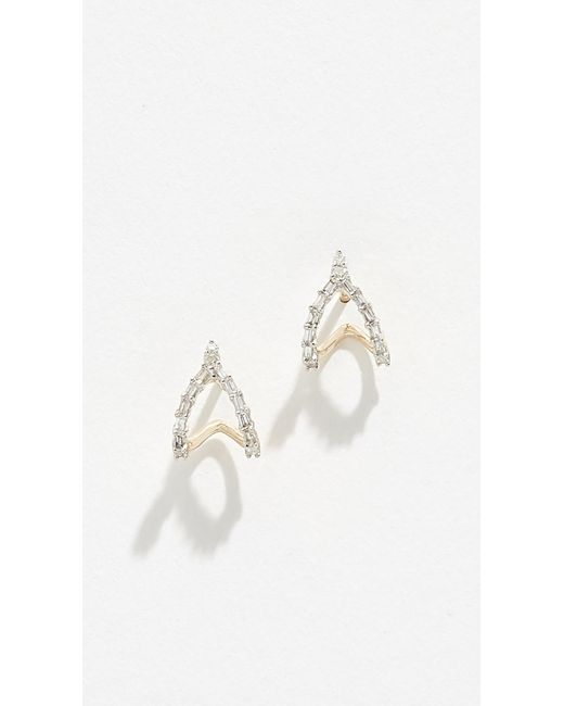Adina Reyter - Metallic 14k Baguette Double J Hoop Earrings - Lyst