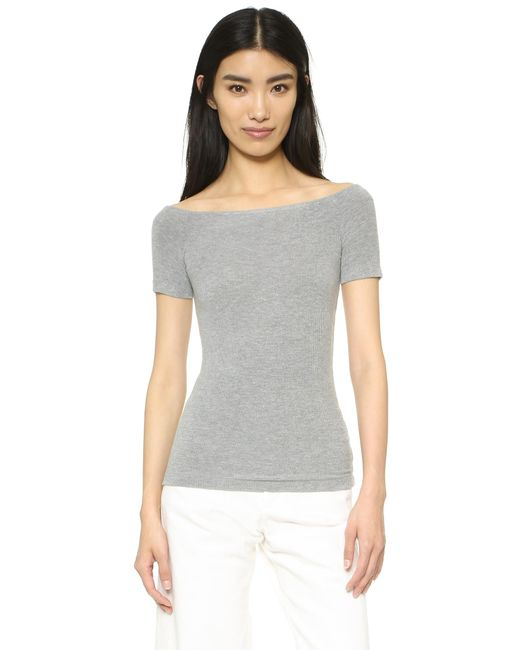 Getting Back to Square One - Gray Off Shoulder Tee - Lyst