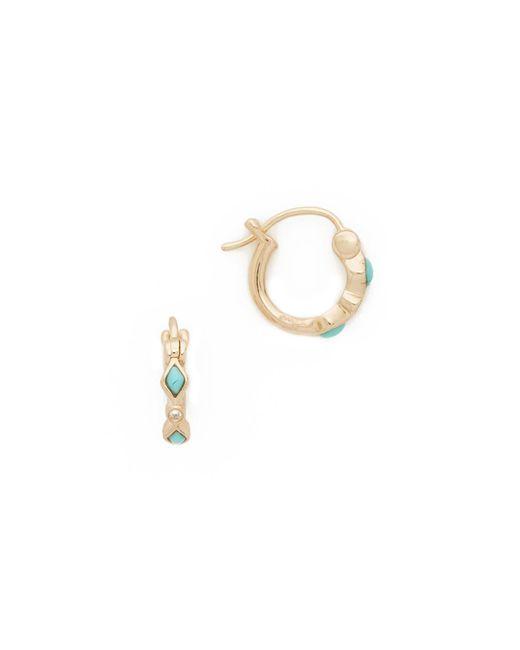 Sydney Evan - Multicolor Turquoise Diamond Bezel Huggie Hoop Earrings - Lyst