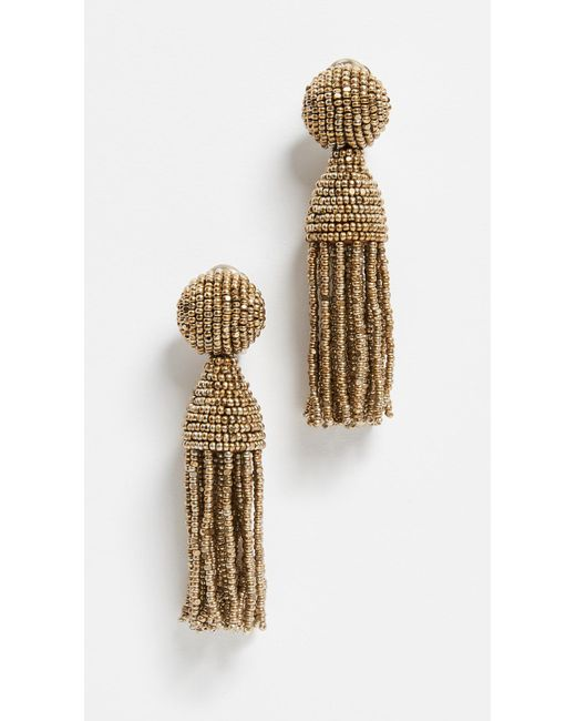 Oscar de la Renta - Metallic Classic Short Tassel Earrings - Lyst
