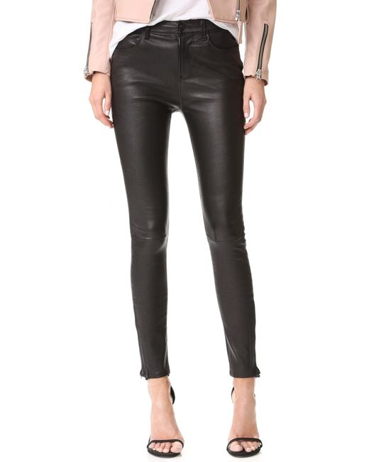 J Brand   Black Maria High Rise Leather Pants   Lyst